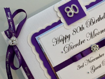 Personalised  80th Birthday Guest Book - Purple